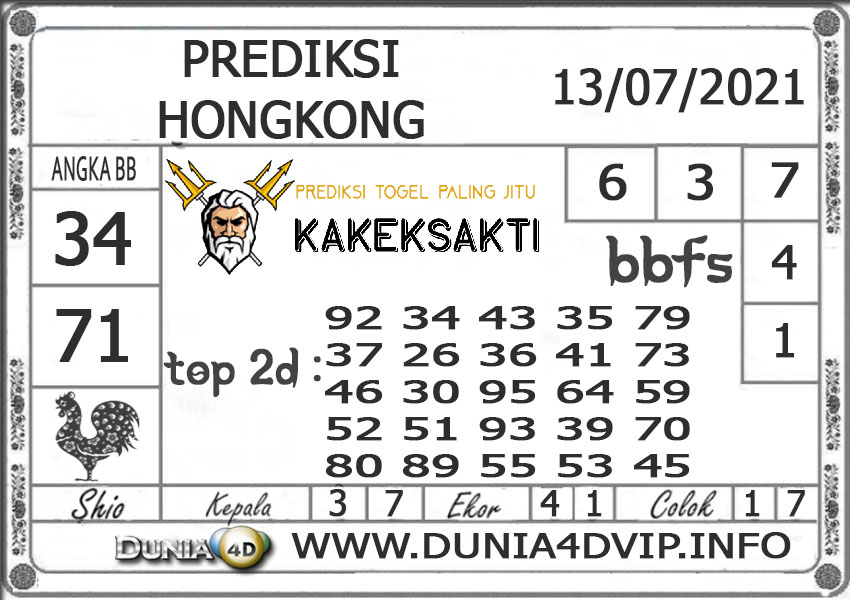 Prediksi Togel HONGKONG DUNIA4D 13 JULI 2021