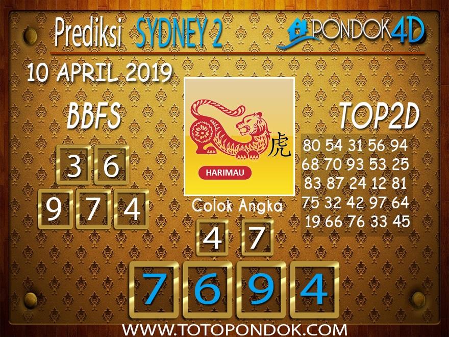 Prediksi Togel SYDNEY 2 PONDOK4D 10 APRIL 2019