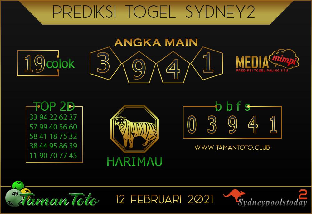 Prediksi Togel SYDNEY 2 TAMAN TOTO 12 FEBRUARI 2021