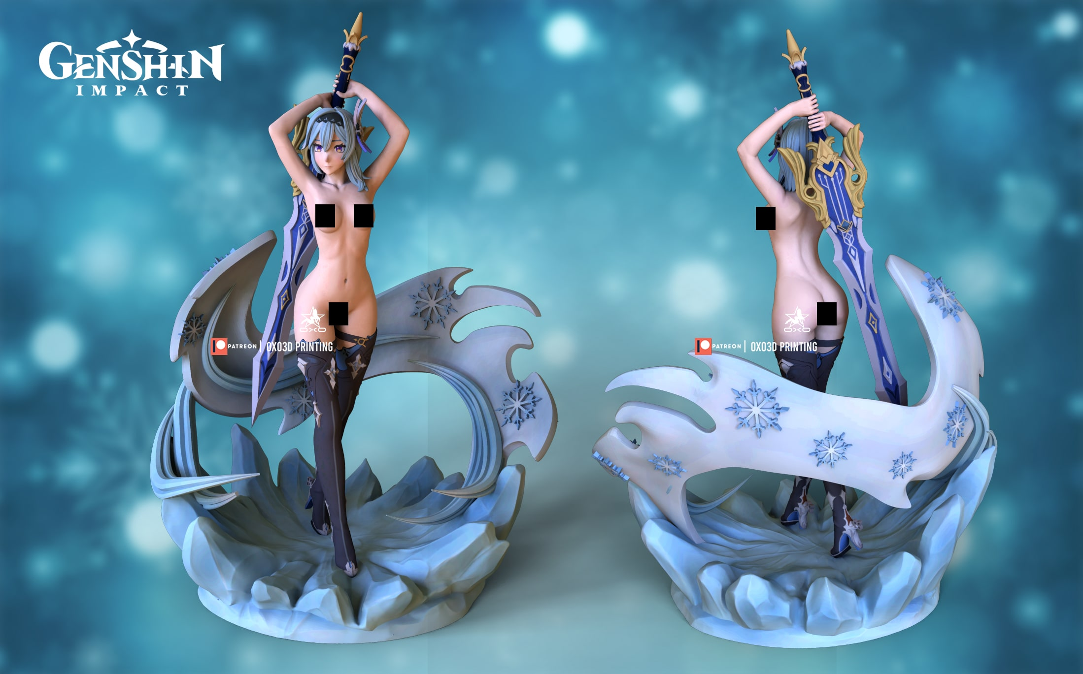 Eula/Yura From Genshin Impact 3D Print STL File - NSFW version with color