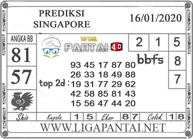PREDIKSI TOGEL SINGAPORE PANTAI4D 16 JANUARI 2020