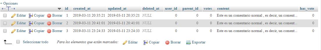 Base de datos con comments