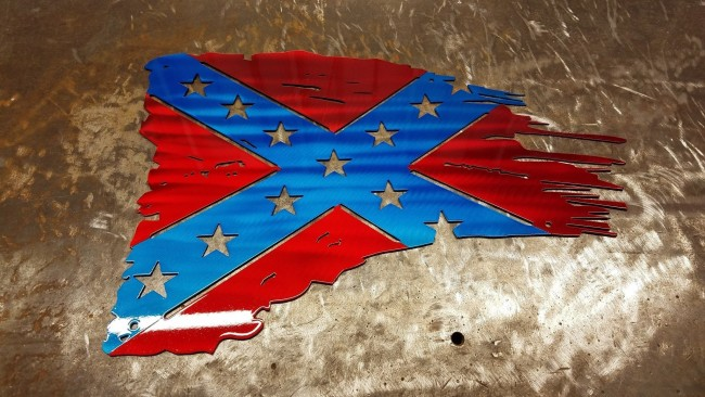 U.S CONFEDERATE FLAG TATTERED AND TORN METAL ART