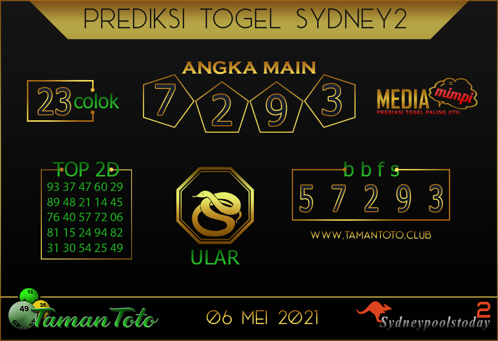 Prediksi Togel SYDNEY 2 TAMAN TOTO 06 MEI 2021
