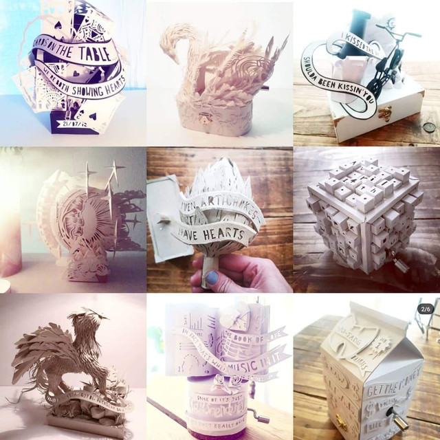 A COLLAGE OF MUSIC BOXES