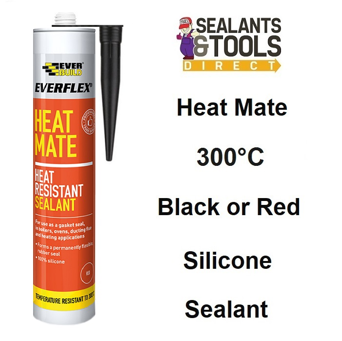 Everbuild Heat Mate Heat Resistant Silicone Sealant Black or Red
