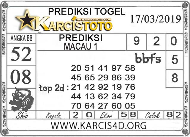 Prediksi Togel MACAU 1 KARCISTOTO 17 MARET 2019