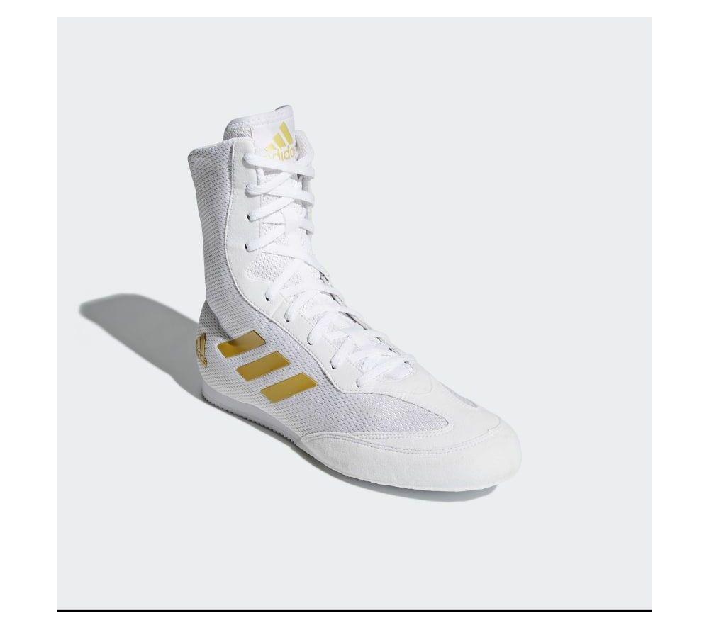 Боксерки Adidas Box Hog Plus - белые / золото New 2019