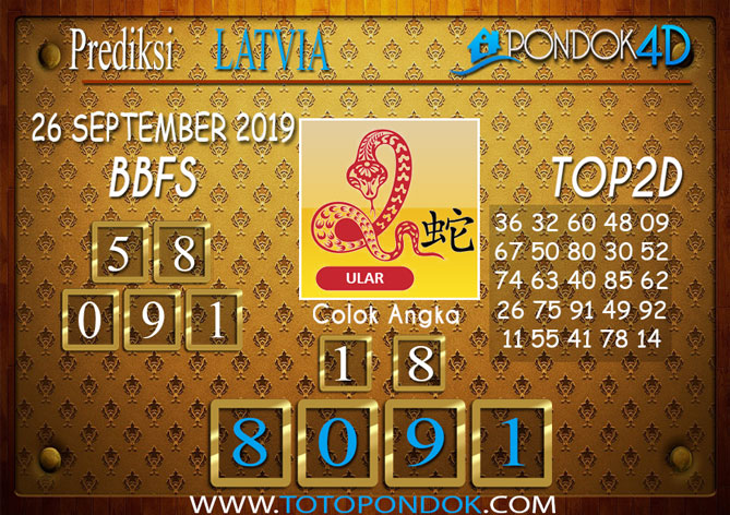 Prediksi Togel LATVIA POOLS PONDOK4D 26 SEPTEMBER 2019