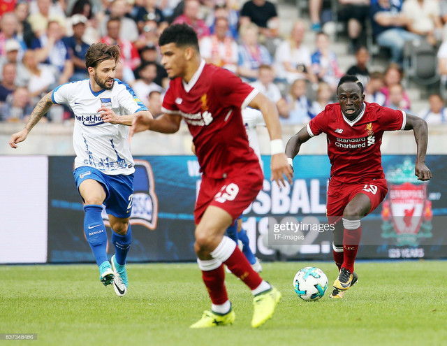 BERLIN-GERMANY-JULY-29-Marvin-Plattenhardt-of-Hertha-and-Sadio-Mane-of-Liverpool-controls-the-ball-d