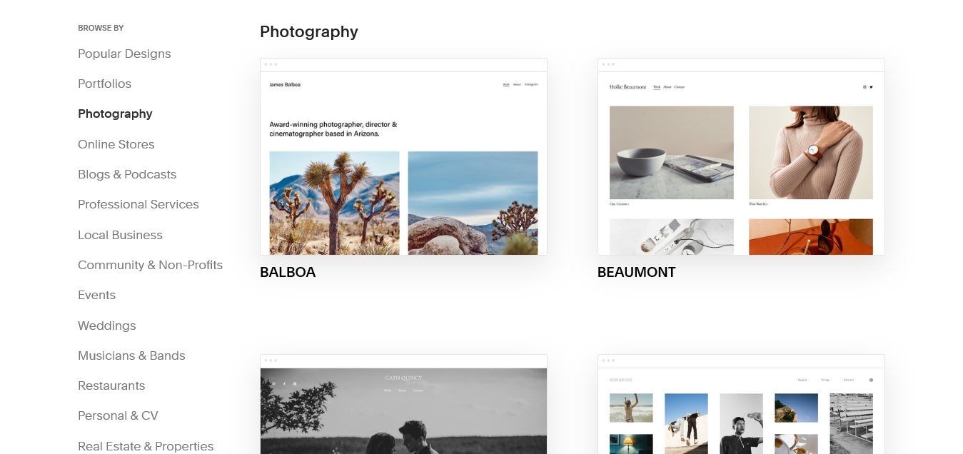 Screenshot from the Squarespace template picker