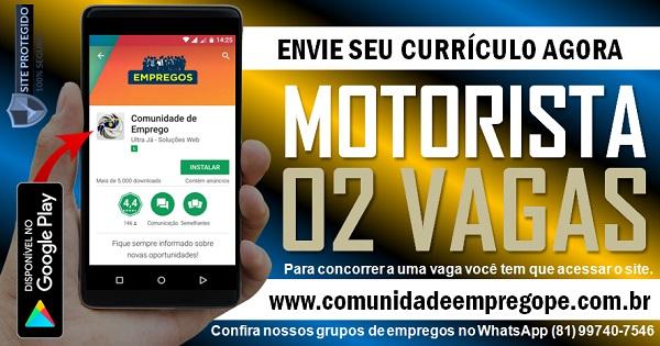 MOTORISTA DE CAMINHÃO, 02 VAGAS PARA EMPRESA NO RECIFE