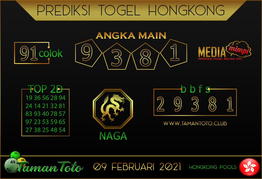 Prediksi Togel HONGKONG TAMAN TOTO 09 FEBRUARI 2021