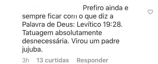 """Padre Fábio de Melo faz tatuagem e recebe críticas na internet; """"isso é coisa do diabo"""" 3"""