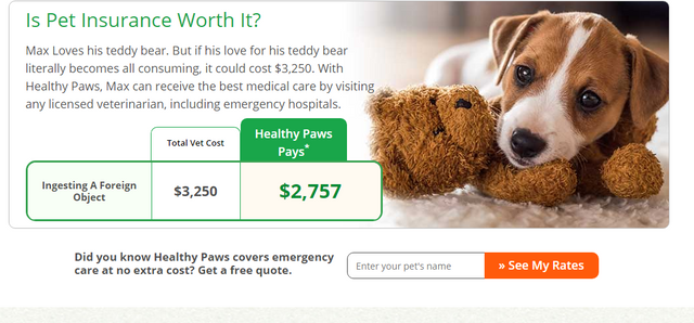 screen shot of healthy paws insurance review