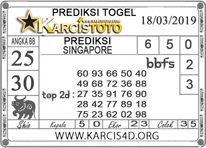 Prediksi Togel SINGAPORE KARCISTOTO 18 MARET 2019
