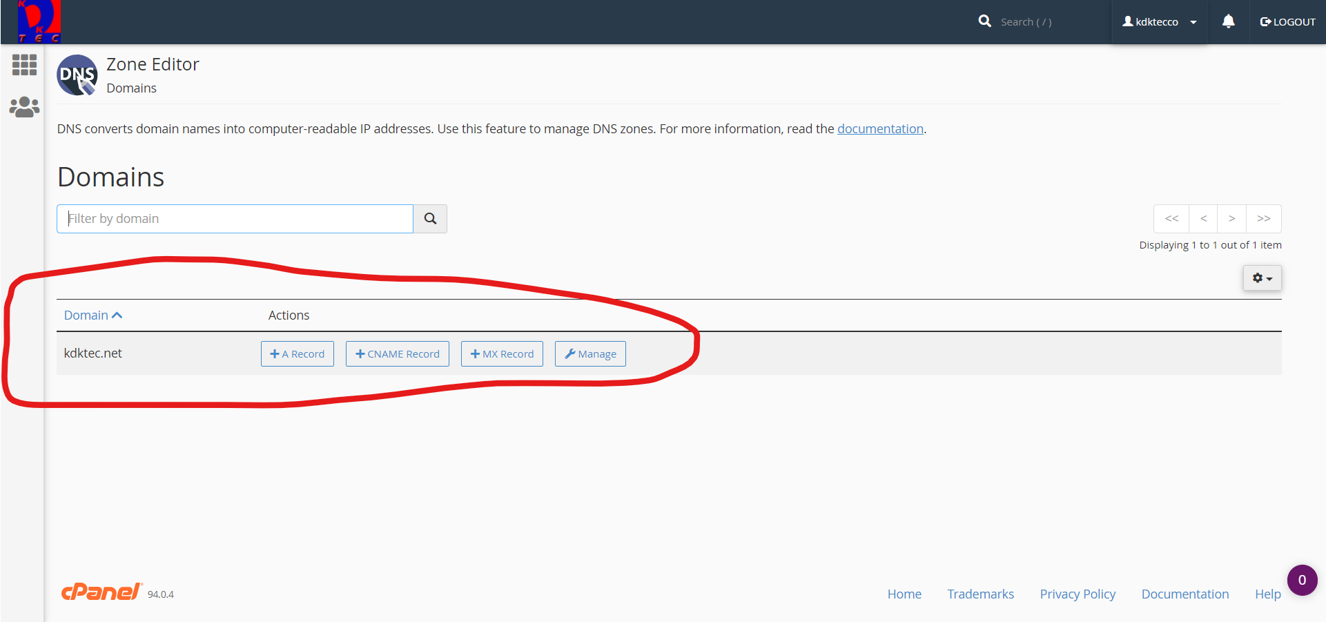 Screenshot of cPanel DNS Zone Editor for Primary Domain