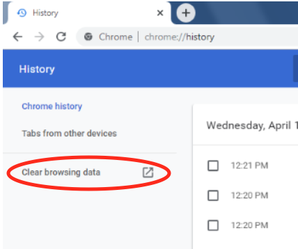 "Google Chrome browser history page with red circle around ""clear browsing data."""