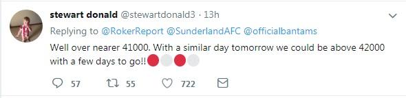 Stewart Donald on SAFC attendance Twitter