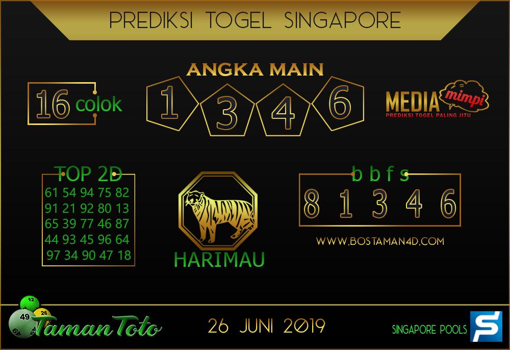 Prediksi Togel SINGAPORE TAMAN TOTO 26 JUNI 2019