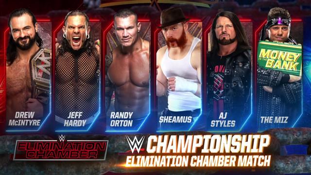 Elimination Chamber Drew McIntyre Orton Hardy Styles Miz Sheamus RAW 8 Febrero