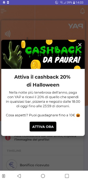 YAP L'App gratuita che ti restituisce denaro! CASHBACK RESTITUZIONE DENARO SU USO CONTO! Cashback-yap-Ott31