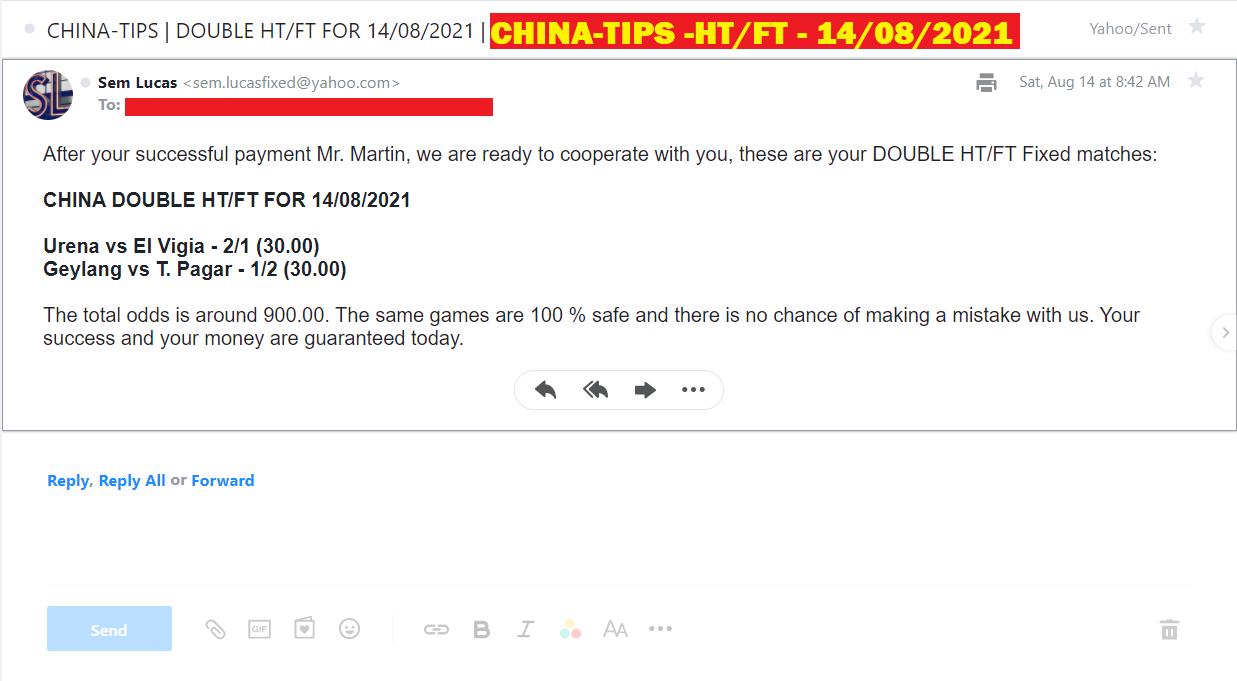 CHINA DOUBLE HT/FT FIXED MATCHES FOR 14/08/2021