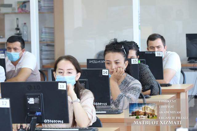 В Ургенчском филиале Ташкентской медицинской академии проведен первый этап вступительных экзаменов в клиническую ординатуру