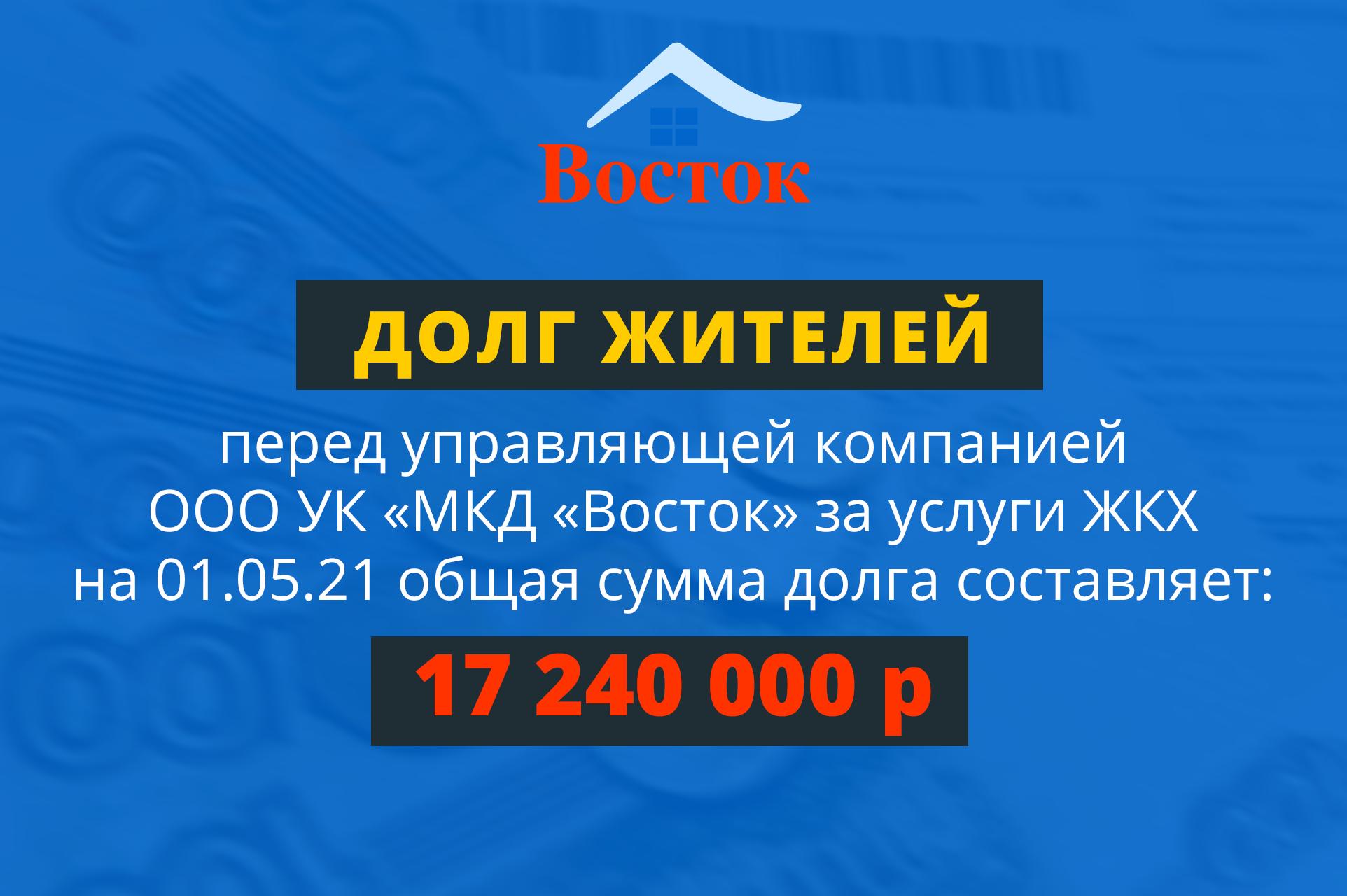 Задолженность жителей Красноармейска за услуги ЖКХ перед управляющей компанией МКД «Восток» составляют 17 240 000 рублей