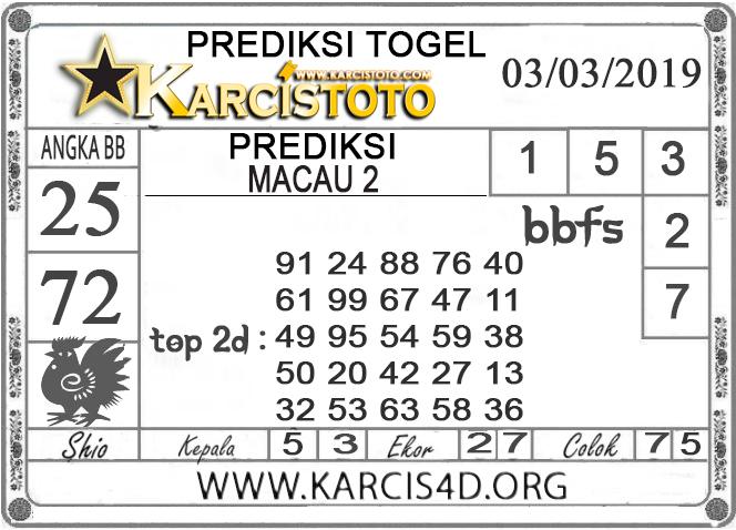 Prediksi Togel MACAU 2 KARCISTOTO 03 MARET 2019