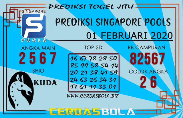 Prediksi Togel SINGAPORE CERDASBOLA 01 FEBRUARI 2020
