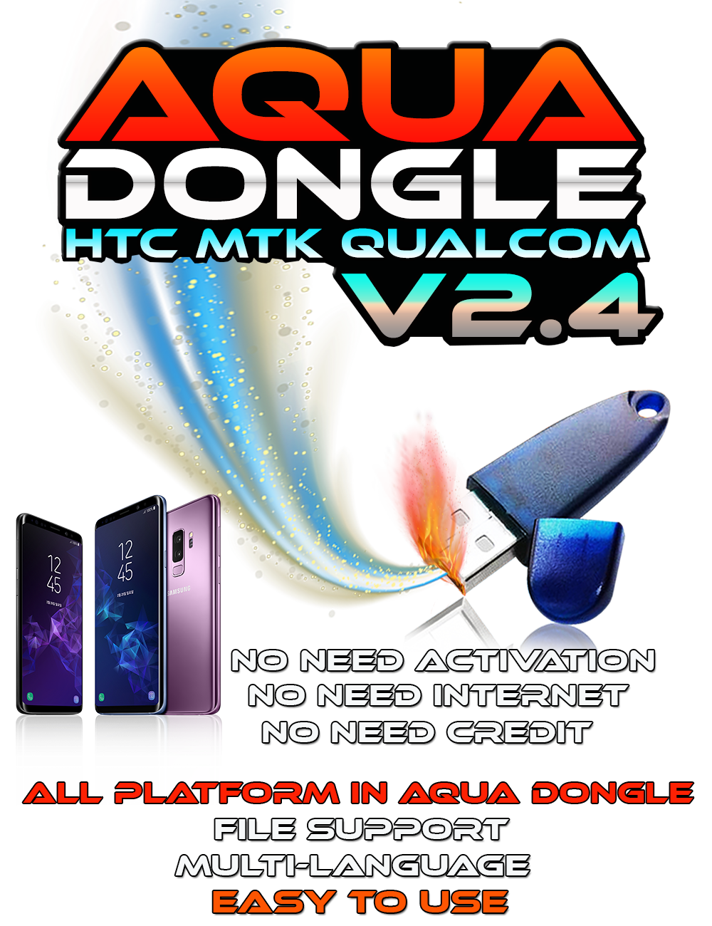 AQUA Dongle v2.4 A.I.O BIG Update MTK Qualcomm Vivo Oppo Lg Sony & More 27/6/2020