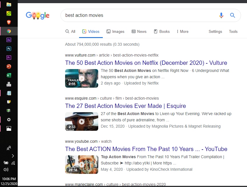 An image example of a video search result listing.