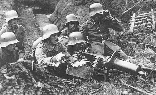 The main machine gun of the German army MG08 / 15. World War I.