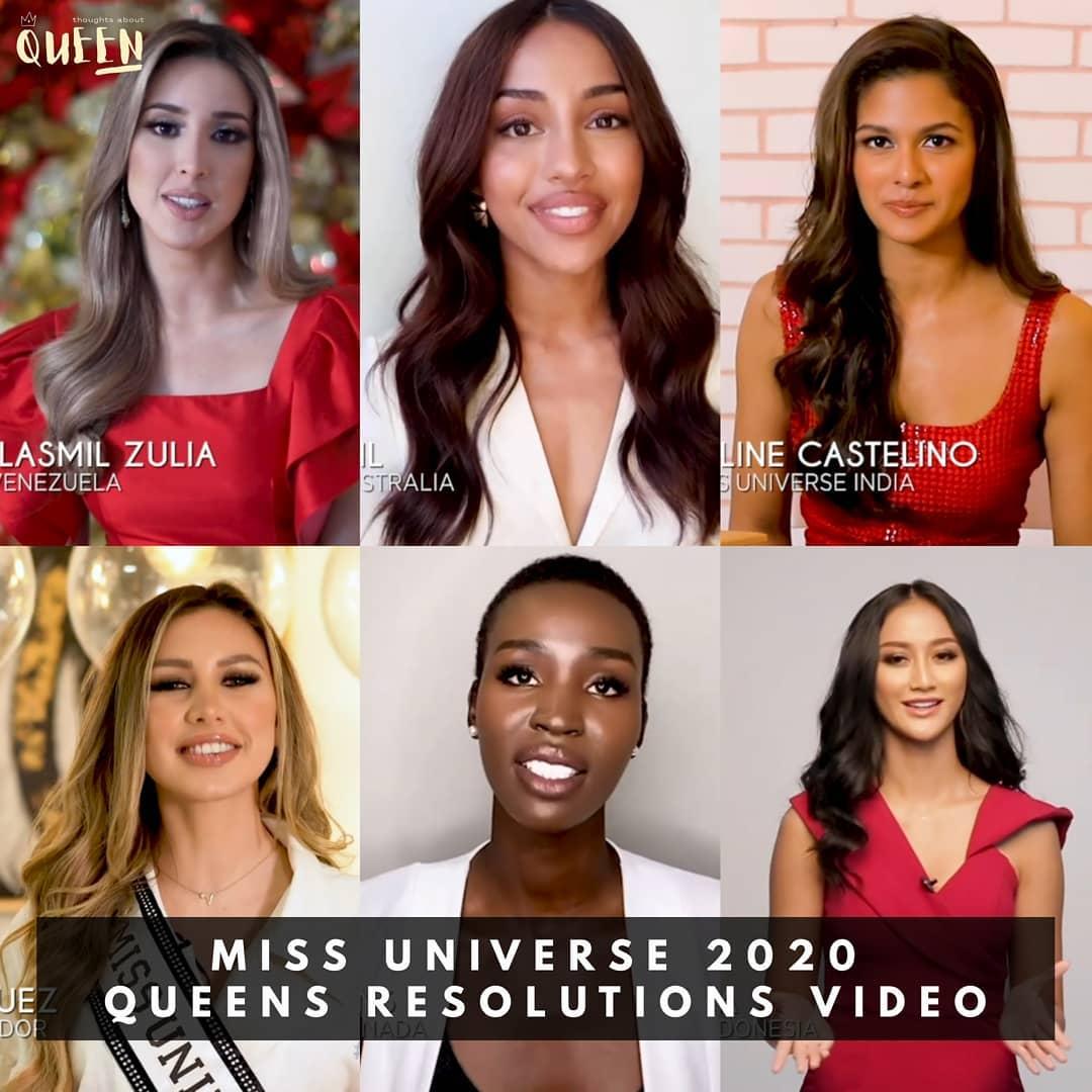 algunas candidatas de miss universe 2020 comentando su propositos para new year. Munhe5fef8545d8fff