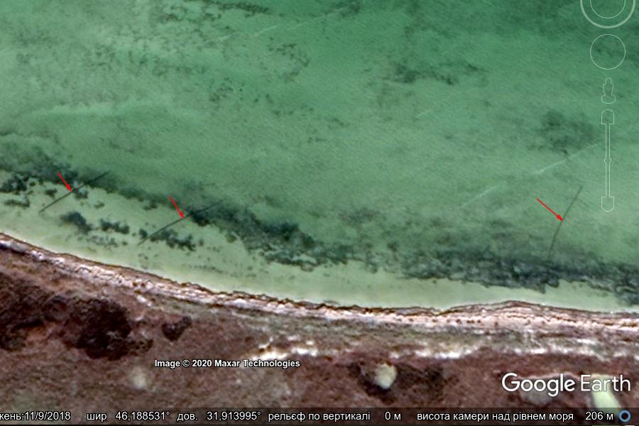 Рис. 1. Прибережна акваторія Тендрівської затоки біля острова Тендра. Червоними стрілочками показані встановлені рибальські сітки