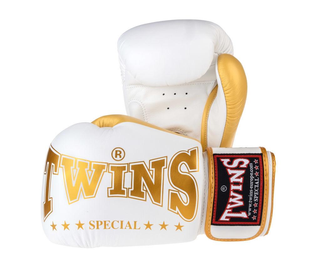 Оригинал Боксерские перчатки Twins Special - белый / золото