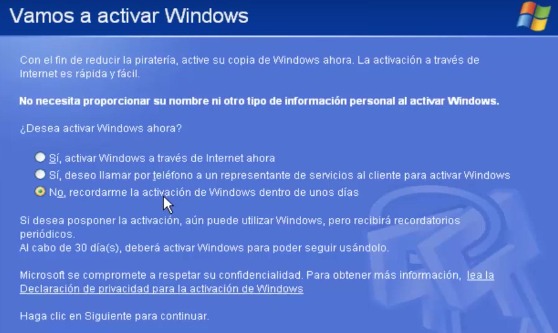 Contiúa con el proceso para Activar Windows XP. Presiona en Recordar Luego.