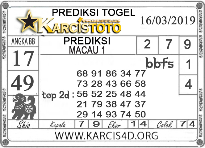 Prediksi Togel MACAU 1 KARCISTOTO 16 MARET 2019