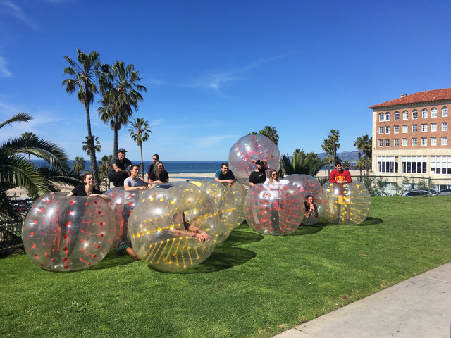 Group Photo of Clients who used our Bubble Soccer Rental service in Santa Monica.