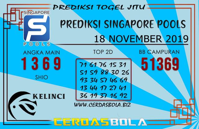 """Prediksi Togel """"SINGAPORE"""" CERDASBOLA 18 NOVEMBER 2019"""