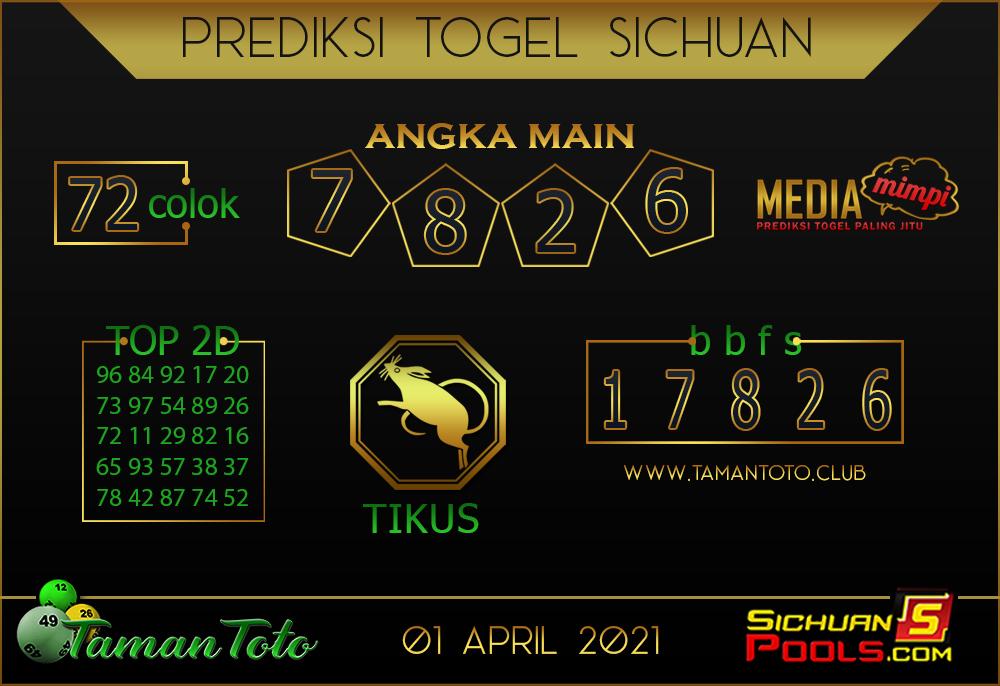 Prediksi Togel SICHUAN TAMAN TOTO 01 APRIL 2021