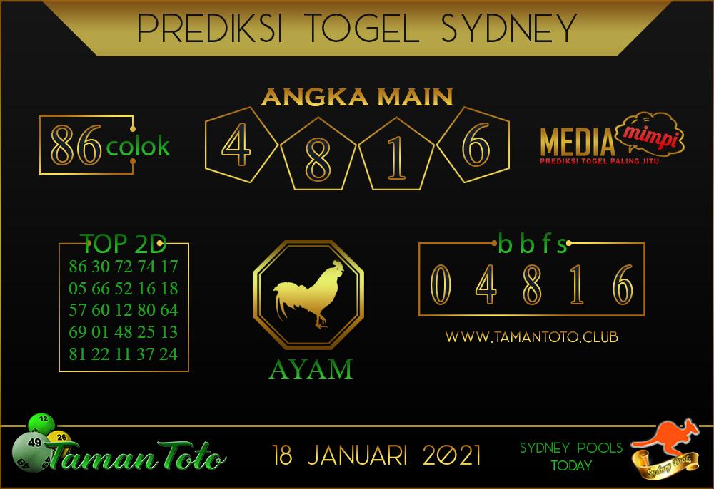 Prediksi Togel SYDNEY TAMAN TOTO 18 JANUARI 2021