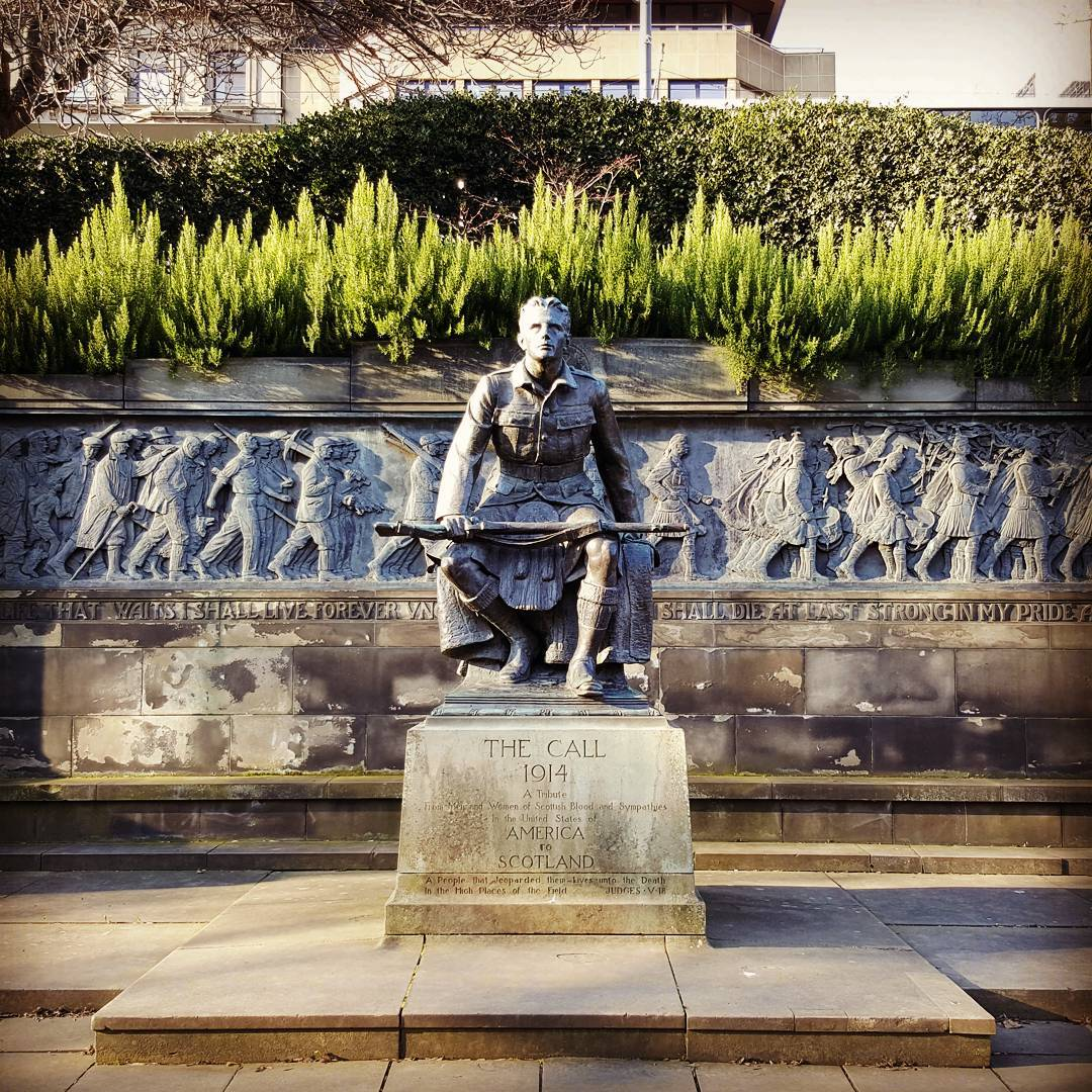 An image of the war memorial in Princes Street Gardens.