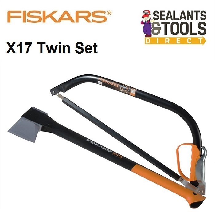 Fiskars X17 Wood Chopping Splitting Axe Bow Saw Set