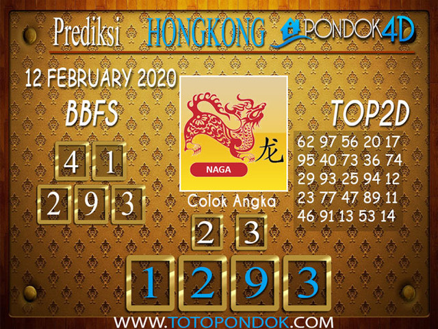 Prediksi Togel HONGKONG PONDOK4D 12 FEBRUARY 2020