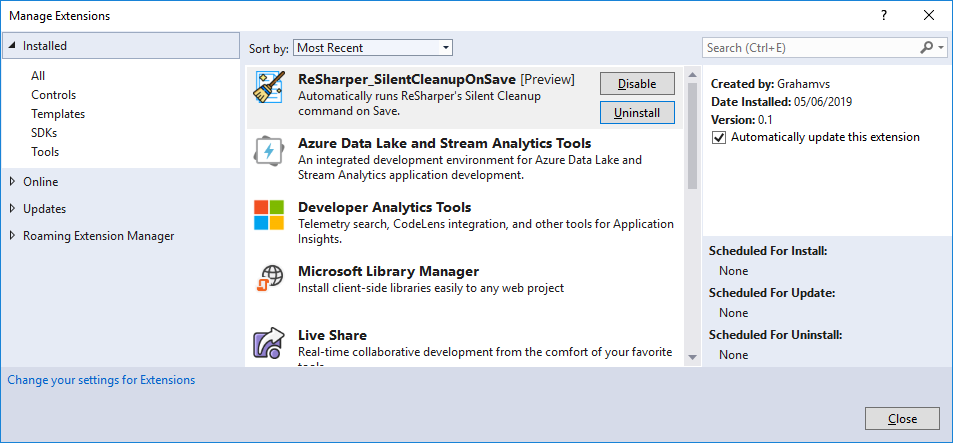 Installing ReSharper_SilentCleanupOnSave via Visual Studio Extension Manager