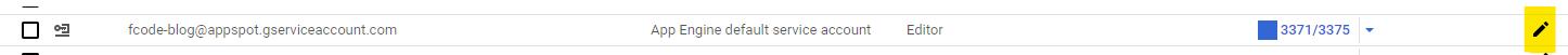 Edit service account button
