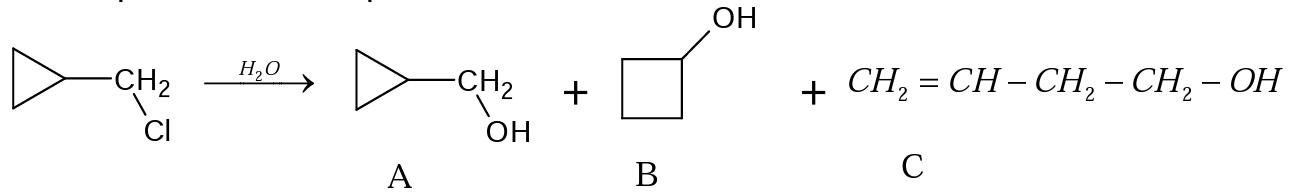 products of hydrolysis  of (chloromethyl)cyclopropane