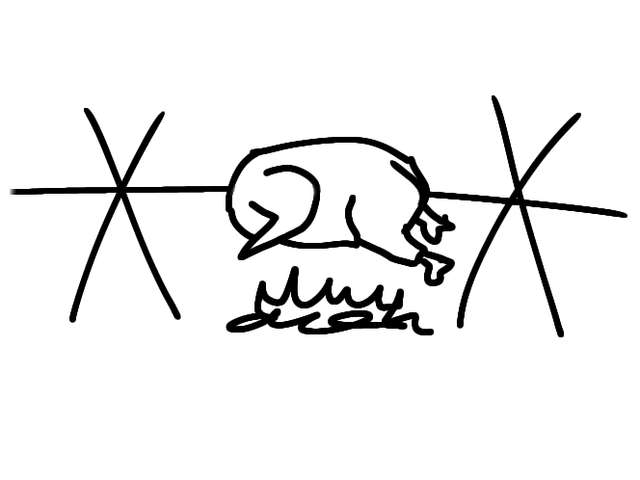 A poorly drawn cartoon rotisserie chicken roasting on a spit over an open fire.
